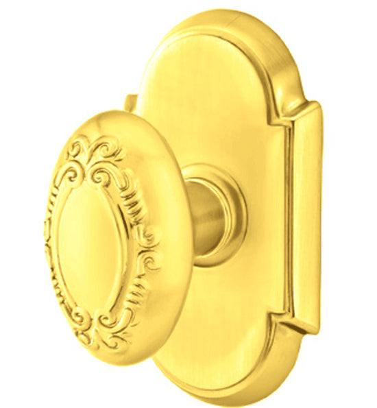 Solid Brass Victoria Door Knob Set With # 8 Rosette