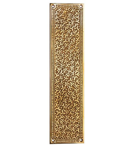 12 Inch Solid Brass Rice Pattern Push Plate in Several Finishes