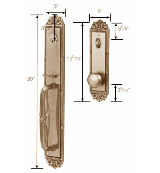 Solid Brass Imperial Style Double Door Entryway Set