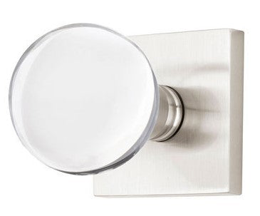 Crystal Bristol Door Knob Set With Square Rosette (Several Finishes)