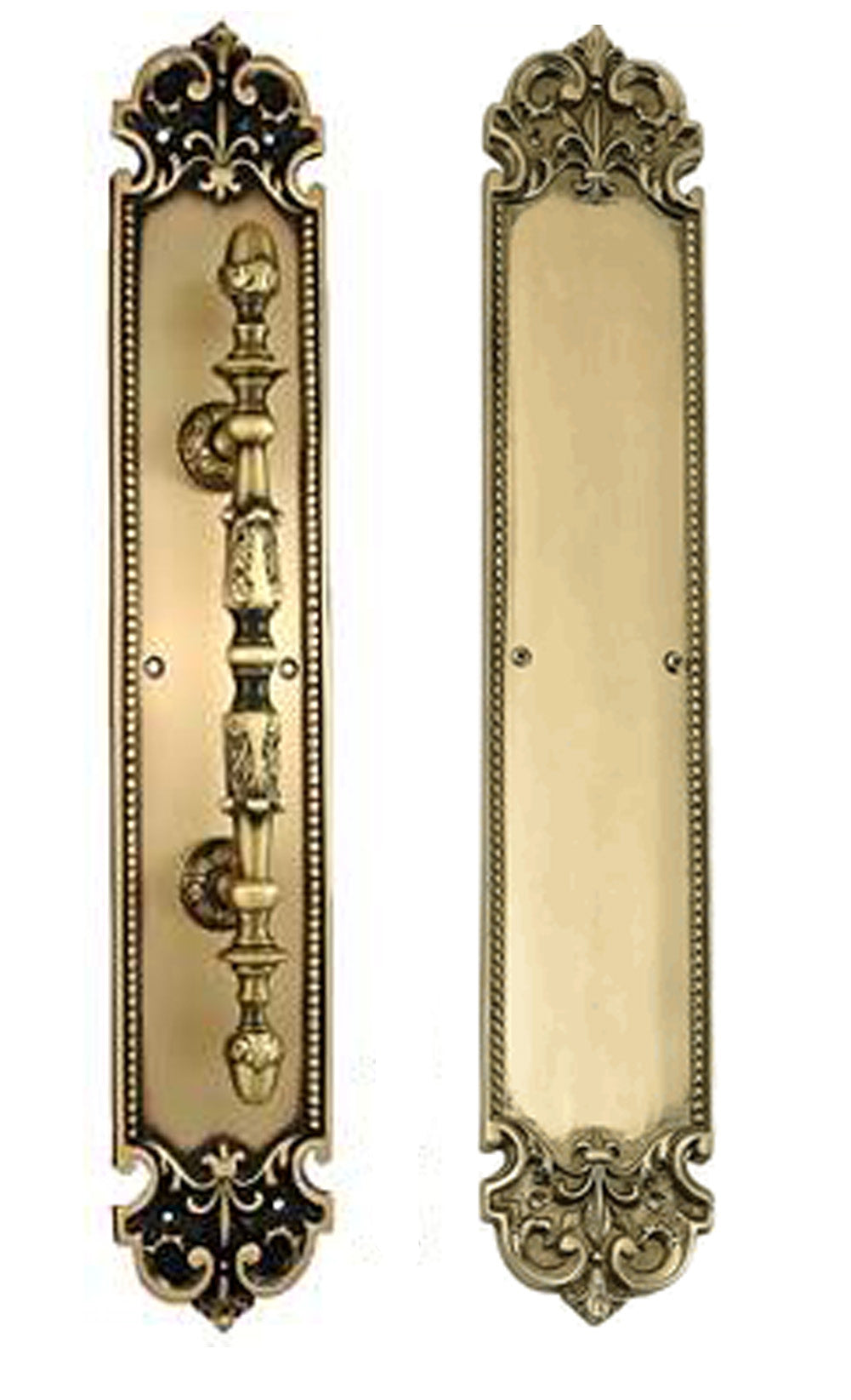 18 Inch Solid Brass Traditional Fleur-De-Lis Door Pull & Push Plate Set