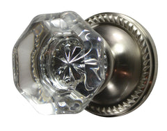 Providence Octagon Crystal Door Knob with Georgian Roped Rosette