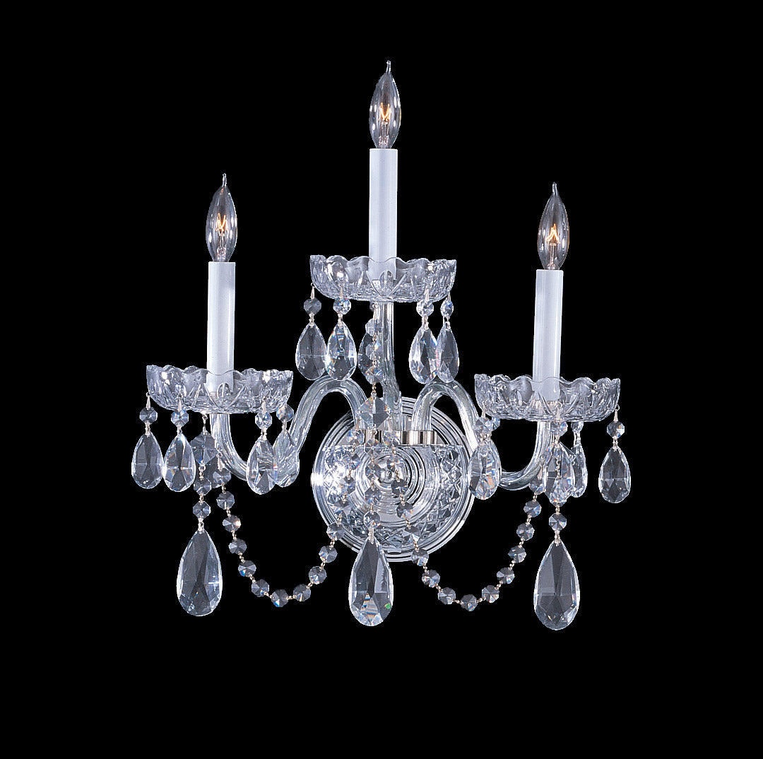 Crystorama 15 Inch Traditional Crystal 3 Light Wall Sconce