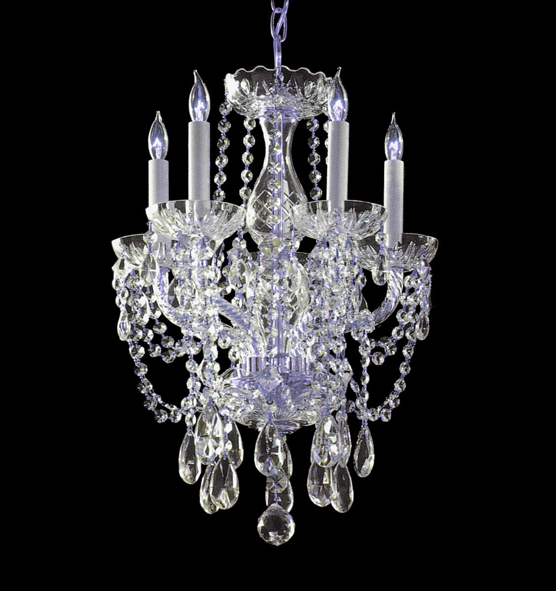 Crystorama 20 Inch Traditional Crystal 5 Light Mini Chandelier