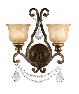 Crystorama Norwalk 2 Light Brown Umber Swarovski Strass Crystal Sconce