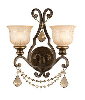 Crystorama Norwalk 2 Light Golden Teak Crystal Bronze Sconce