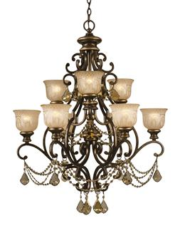 Crystorama Norwalk 9 Light Golden Teak Strass Crystal Chandelier
