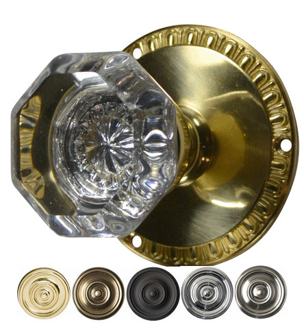 Providence Octagon Crystal Door Knob with Egg & Dart Rosette