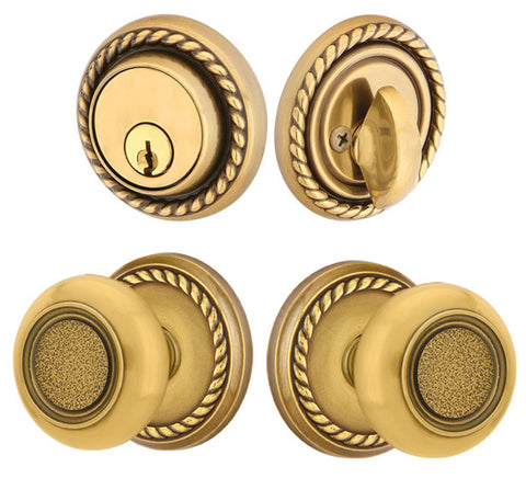 Solid Brass Belmont Door Knob Deadbolt with Georgian Rope Rosette