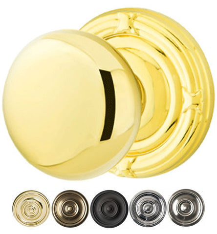 2 1/4 Inch Solid Brass Providence Door Knob Set With Ribbon & Reed Rosette