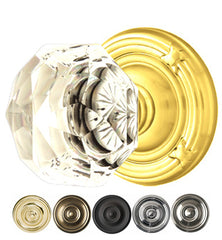 Diamond Crystal Door Knob Set With Ribbon & Reed Rosette