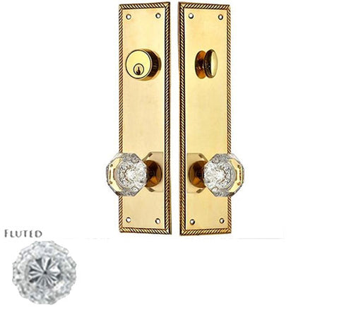 Georgian Roped Single Door Deadbolt Entryway Set in Polished Brass