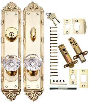 Victorian Oval Single-Door Crystal Octagon Knob Deadbolt Entryway Set