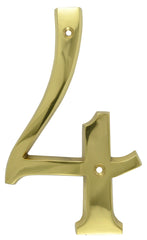 Solid Brass 6 Inch Tall Number 4