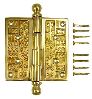 4 x 4 Ball Tipped Victorian Solid Brass Hinge