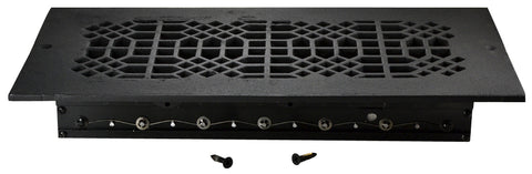 Black Iron Louvered Register: 14 Inch x 6 Inch