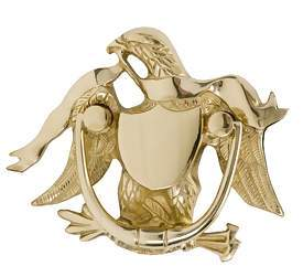 5 7/8 Inch (3 1/8 Inch c-c) American Eagle Door Knocker Polished Brass