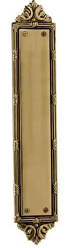 13 3/4 Inch Solid Brass Ribbon & Reed Push Plate in Several Finishes