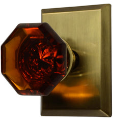 Traditional Crystal Octagon Amber Glass Door Knob in Several Finishes