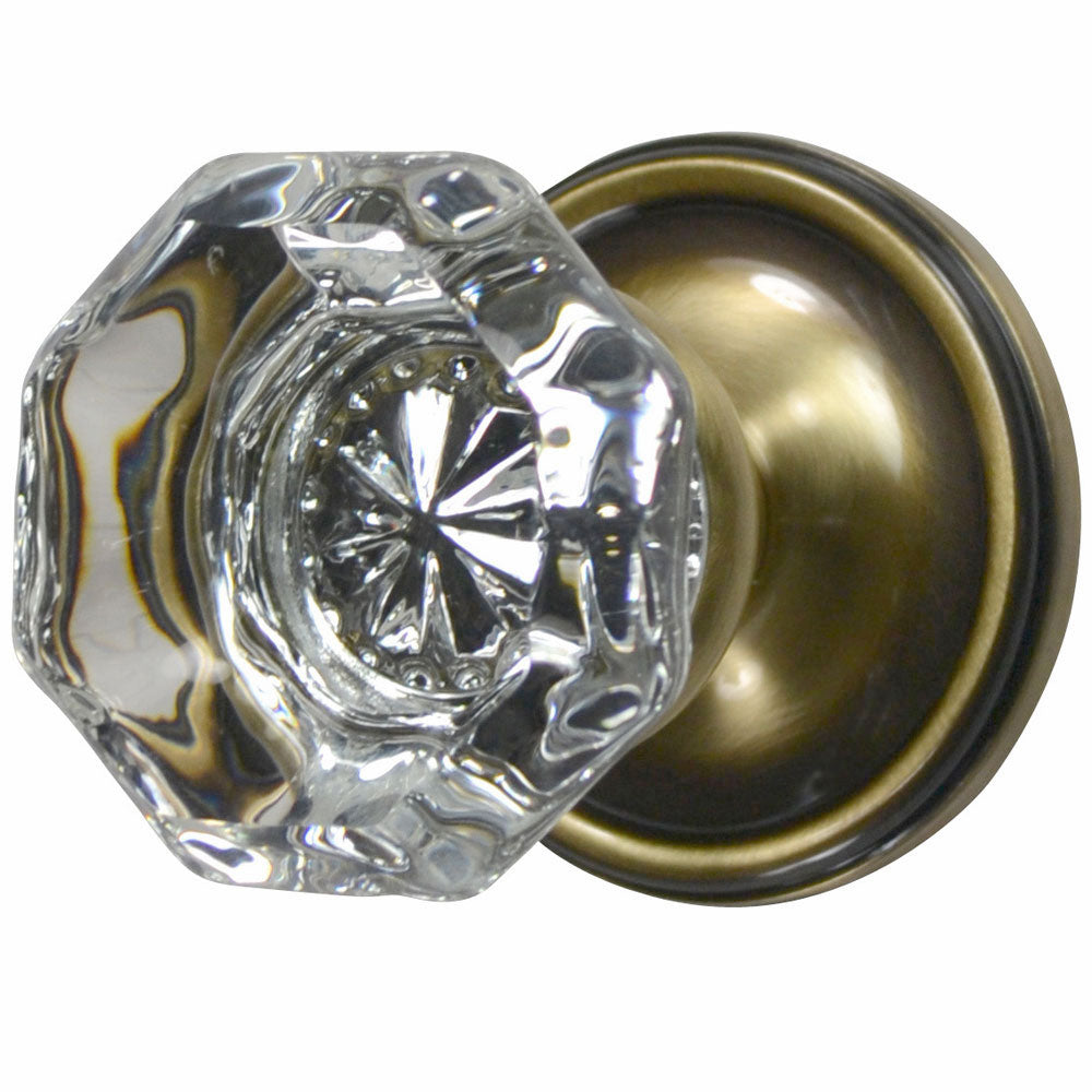 Providence Octagon Crystal Door Knob with Victorian Plate