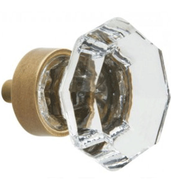 1 5/16 Inch Crystal Glass Octagon Cabinet Knob