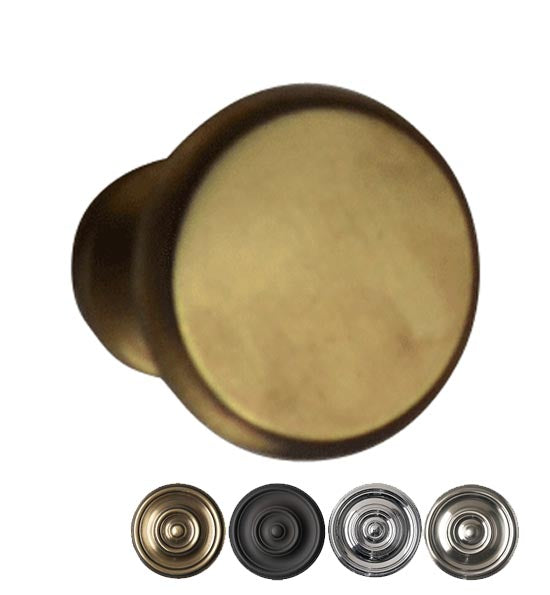 Traditional Brass Flat Top Round Cabinet & Furniture Knob