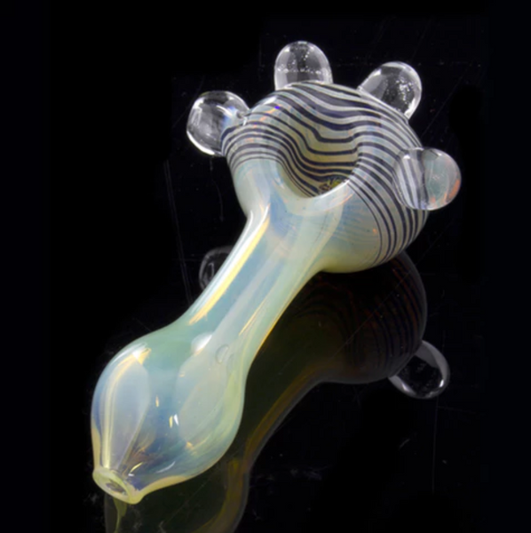 "4"" Fumed Color Riversal Spoon Pipe w/ Glass Marbles - The Oven Company"
