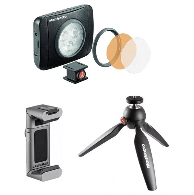 Kit Vlogger Manfrotto Para Smartphone (kit De 3 Productos)