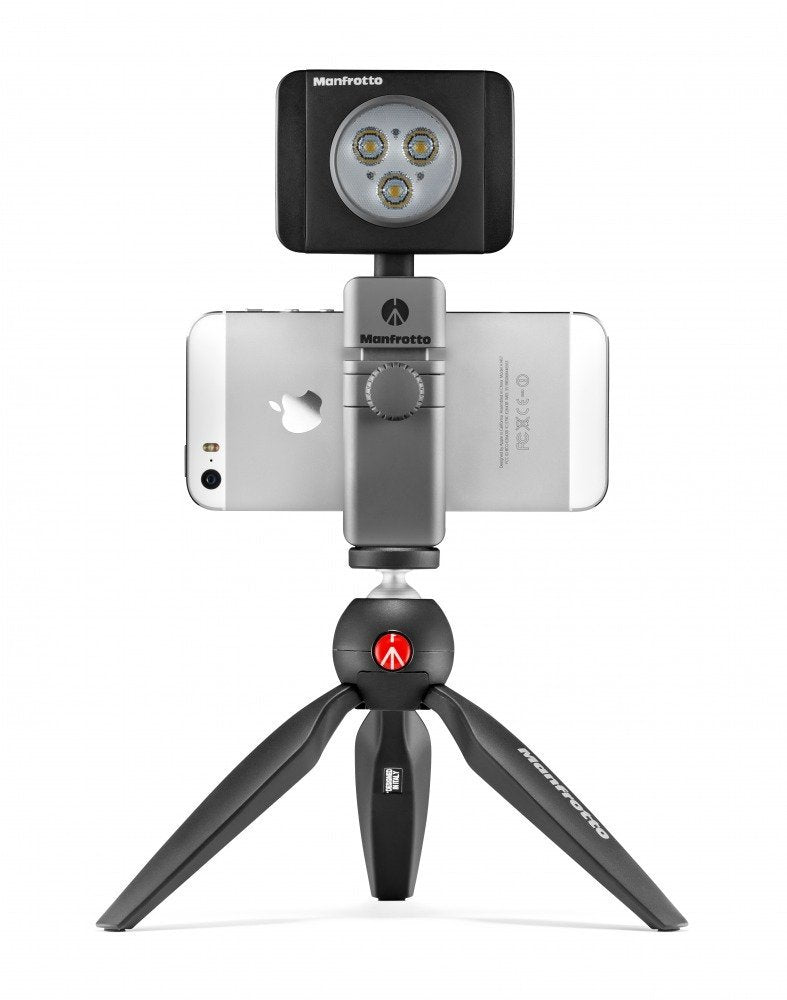 Kit De Video Para Smartphone Manfrotto, Pixi Negro + Twist Grip + Lumie De 3 Led´s