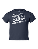 Big Sister Funny Toddler Tee Navy 2T