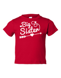 Big Sister Funny Toddler Tee Red 2T