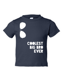 Coolest Big Bro Ever Funny Toddler Tee Navy 2T