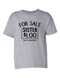 For Sale Sister Dollar Funny Toddler Tee Gray 2T