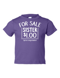 For Sale Sister Dollar Funny Toddler Tee Purple 2T
