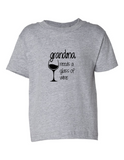 Grandma Needs A Drink Of Wine Funny Toddler Tee Gray 2T