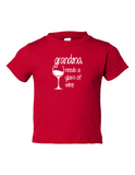 Grandma Needs A Drink Of Wine Funny Toddler Tee Red 2T
