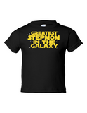 Greatest Stepmom In The Galaxy Funny Toddler Tee Black 2T