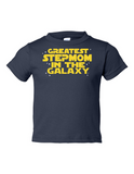 Greatest Stepmom In The Galaxy Funny Toddler Tee Navy 2T