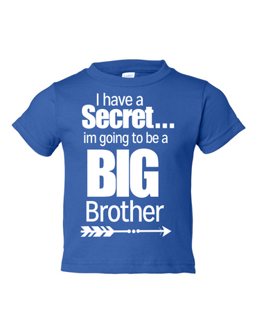 I Have Secret Going Be Big Brother Funny Toddler Tee Royal 2T