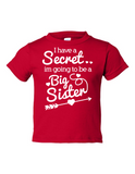 I Have Secret Going Be Big Sister Funny Toddler Tee Red 2T