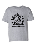 Little and Loud Girl Funny Toddler Tee Gray 2T