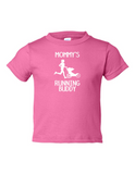 MOMMYS RUNNING BUDDY Funny Toddler Tee Pink 2T