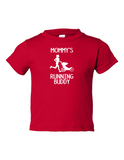 MOMMYS RUNNING BUDDY Funny Toddler Tee Red 2T