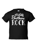 Middle Brothers Rock Funny Toddler Tee Black 2T