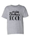 Middle Brothers Rock Funny Toddler Tee Gray 2T