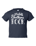 Middle Brothers Rock Funny Toddler Tee Navy 2T