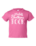Middle Brothers Rock Funny Toddler Tee Pink 2T