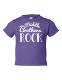 Middle Brothers Rock Funny Toddler Tee Purple 2T