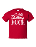 Middle Brothers Rock Funny Toddler Tee Red 2T