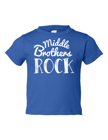 Middle Brothers Rock Funny Toddler Tee Royal 2T